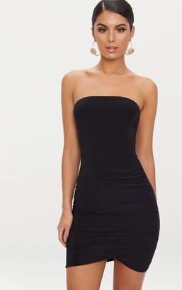 PrettyLittleThing Black Bandeau Wrap Bodycon Dress