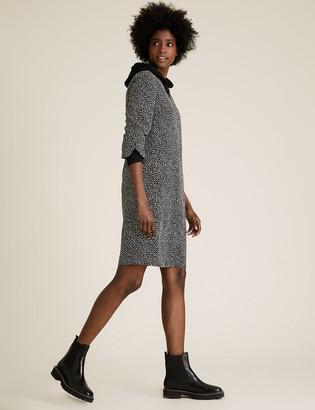 Marks and Spencer Crepe Printed V-Neck Shift Dress
