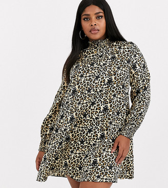 Simply Be high neck swing dress in leopard and star print-Multi