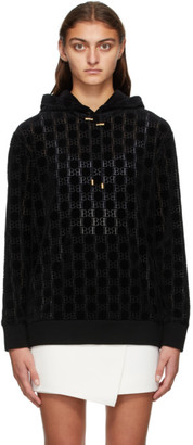 Balmain Black Velvet Monogram Hoodie