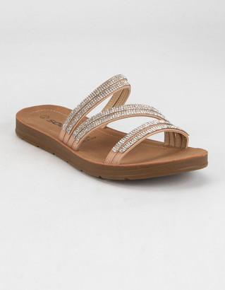 Soda Sunglasses Rhinestone Womens Tan Comfort Slide Sandals