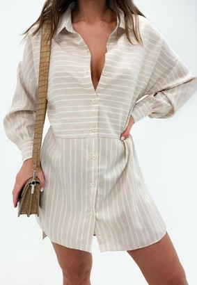 Missguided Stripe Dip Back Shirt Dress