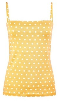 Dorothy Perkins Womens Yellow Spot Print Square Neck Camisole Top, Yellow