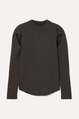 Low Classic Cutout Ribbed-knit Sweater - Brown