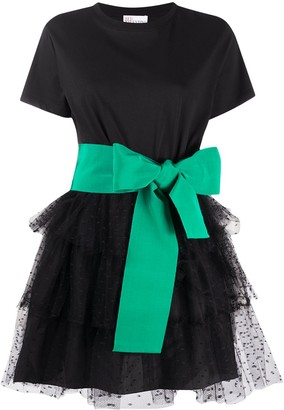 RED Valentino Bow-Strap Tulle Mini Dress