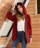 Z Avenue Women's Non-Denim Casual Jackets Burgundy - Burgundy & Taupe Lined Jacket - Women & Plus