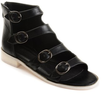 Brinley Co. Womens Faux Leather High-top Distressed Side Buckle Sandals