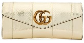 Gucci Broadway Gg Metallic-snakeskin Clutch - Womens - Silver