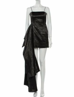 Halpern Square Neckline Mini Dress Black