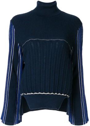 Mame Kurogouchi Hamaguri striped-sleeve jumper