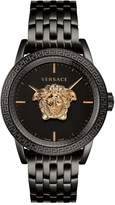 VERSACE Versace Palazzo Empire Black Sunray Gold Medusa 43mm Dial Black IP Stainless Steel Bracelet Mens Watch