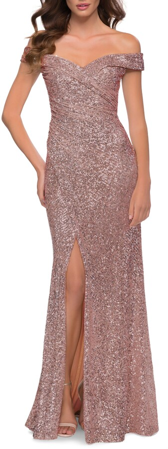Thumbnail for your product : La Femme Sequin Off the Shoulder Gown