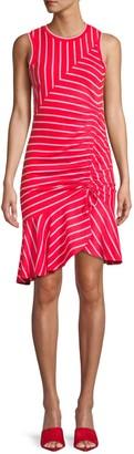 Parker Lucia Striped Flounce Hem Dress
