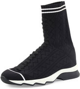 Fendi Zigzag-Knit Sock Sneaker, Black/White
