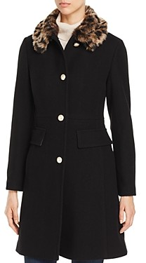 Kate Spade Cheetah Print Faux Fur Collar Coat