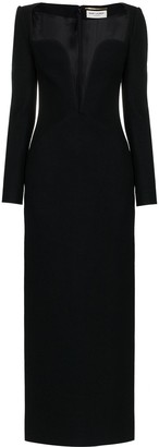 Saint Laurent Plunging Sweetheart Neck Wool Column Dress