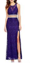 Jodi Kristopher Beaded Trim Illusion Glitter Lace Two-Piece Long Dress