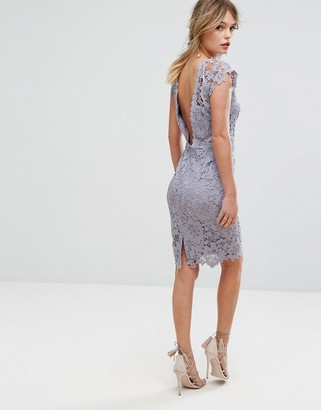 Paper Dolls Midi Lace Dress with Scalloped Back-Grey