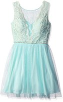As U Wish Juniors' Lace and Pearlescent Short Prom Dress