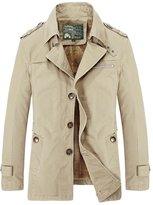 HengJia Men's Windproof Field Jacket Fashion Cotton Outerwear Fleece Lined Coat Large