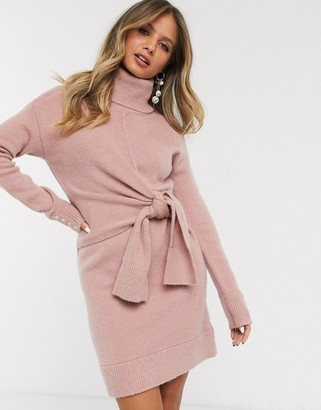 Morgan long sleeve knitted tie front dress in pink