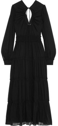 Proenza Schouler Bow-detailed Cutout Gathered Silk-georgette Maxi Dress