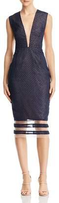 Lee SAU Kendall Plunging Illusion Dress