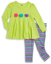 Kids Headquarters Girls 2-6x Pleated Dress and Patterned Leggings Set