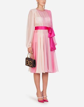 Dolce & Gabbana Long-Sleeved Chiffon Longuette Dress