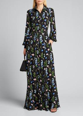 Carolina Herrera Long-Sleeve Floral Shirt Gown