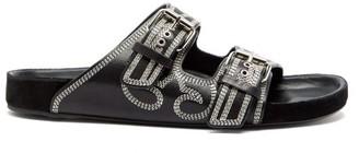 Isabel Marant Lennyo Double-strap Topstitched Leather Slides - Womens - Black White