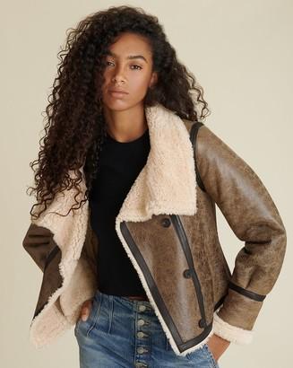 Veronica Beard Selita Leather Shearling Jacket