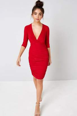 Girls On Film Outlet Red Wrap Bodycon Dress