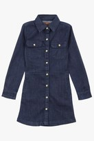 7 For All Mankind Girls 4-6x Long-Sleeve Snap-Up Denim Shirtdress In Rinsed Indigo
