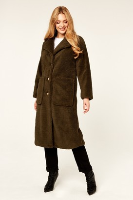 Gini London Khaki Longline Teddy Coat