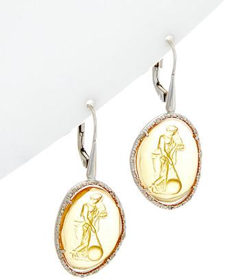 Phillip Gavriel Silver 0.11 Ct. Tw. Diamond & Glass Cameo Drop Earrings