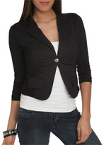 Wet Seal WetSeal Ruched Sleeve Lace Blazer Mint