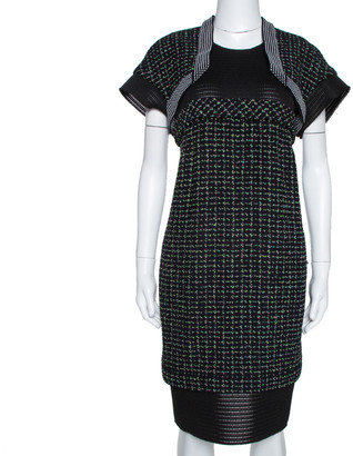 Chanel Black Boucle Knit & Mesh Short Sleeve Dress L