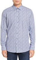 Sand Trim Fit Geo Print Sport Shirt