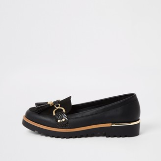 River Island Womens Black tassel front chunky loafers