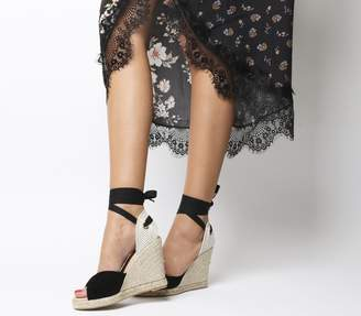 Office Hvar Peep Toe Espadrilles Black Suede