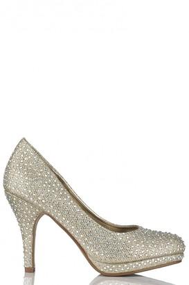 Miss Diva Carnation Round Toe Medium Platform Heel Diamante Court Shoe In Gold