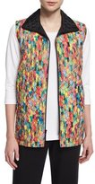 Caroline Rose Rain or Shine Mosaic-Print Vest, Petite