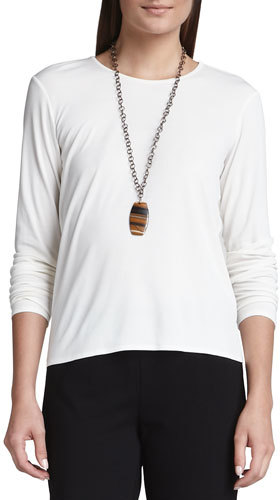 Eileen Fisher Silk Jersey Long-Sleeve Tee