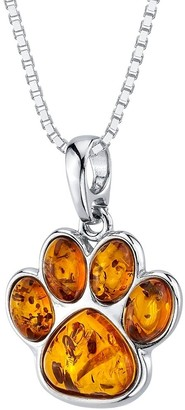 Oravo Baltic Amber Paw Print Pendant Necklace in Sterling Silver, 18""