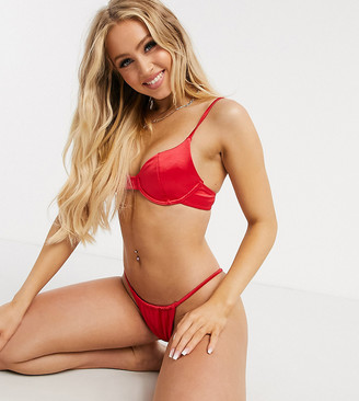 Twiin Exclusive underwire bikini top in high shine red