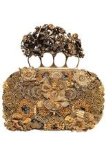 Alexander McQueen Gold Embroidery Silk Knucklebox Clutch