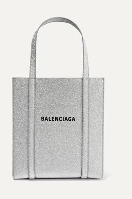 Balenciaga Everyday Xxs Aj Printed Glittered Leather Tote - Silver