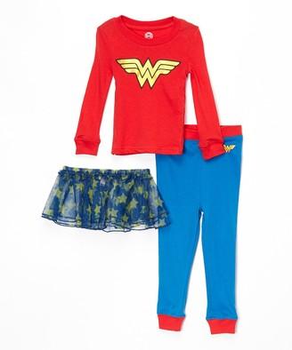 Intimo Girls' Sleep Bottoms PR801 - Wonder Woman Red & Blue Tutu Pajama Set - Toddler