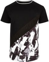 River Island MensBlack and white geo panel T-shirt